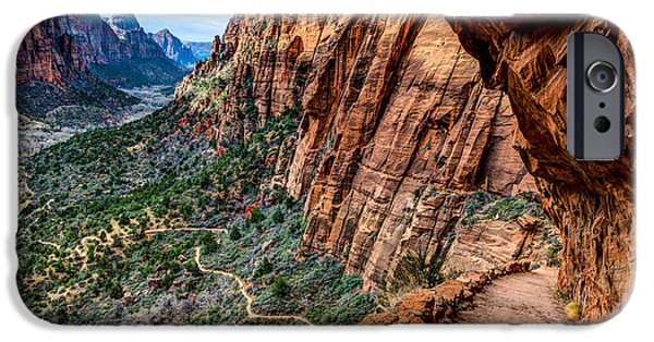 Overhang iPhone Cases - Angels Landing Trail from High Above Zion Canyon Floor iPhone Case by Gary Whitton