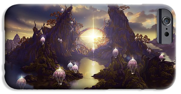 Phantasie Digital Art iPhone Cases - Angels Passage iPhone Case by Cassiopeia Art