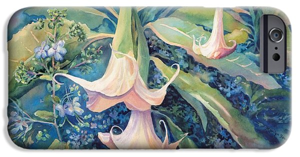 Night Angel iPhone Cases - Angels Trumpets II iPhone Case by Marilyn Young