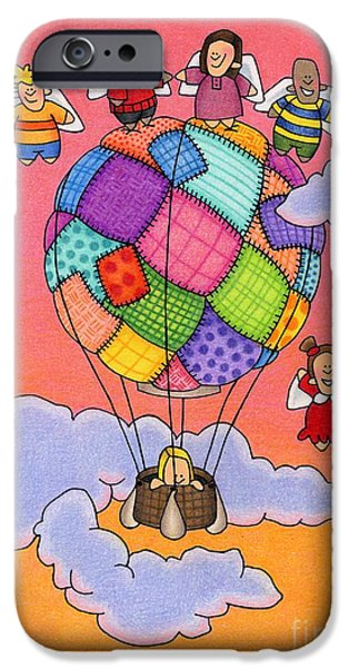 Religious Drawings iPhone Cases - Angels With Hot Air Balloon iPhone Case by Sarah Batalka