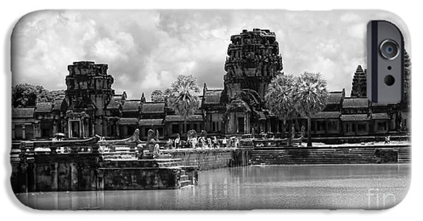 Buddhist iPhone Cases - Angkor Black White iPhone Case by Chuck Kuhn