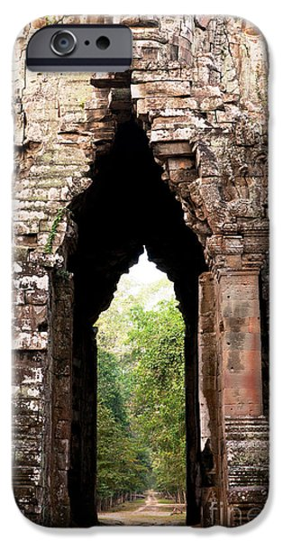 Ruin iPhone Cases - Angkor Thom East Gate 02 iPhone Case by Rick Piper Photography