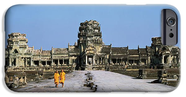 Buddhist Monk iPhone Cases - Angkor Wat Cambodia iPhone Case by Panoramic Images