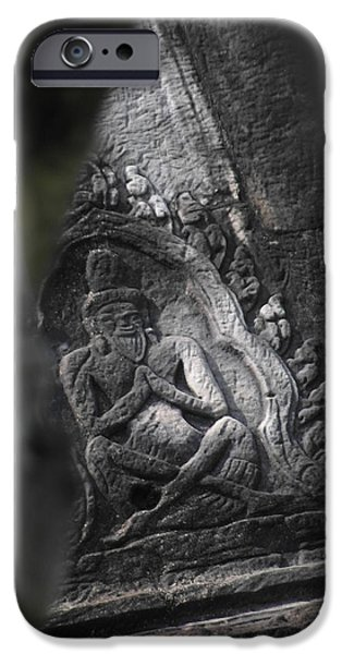 Figures Pyrography iPhone Cases - Angkor Wat Praying Figure iPhone Case by Ian Scholan