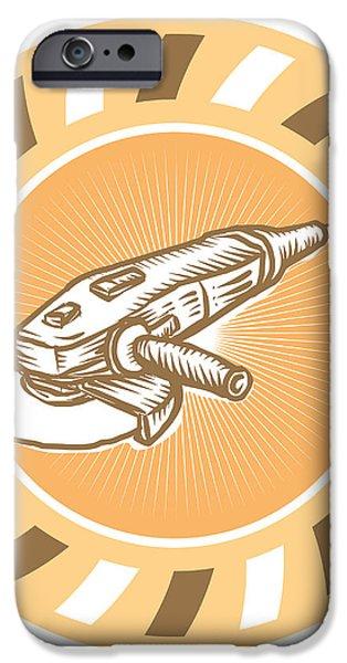 Angle Grinder Power Tool Woodcut Retro iPhone Case by Aloysius Patrimonio