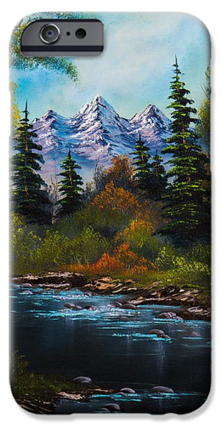 Bob Ross Paintings iPhone Cases - Fishermans Retreat iPhone Case by C Steele
