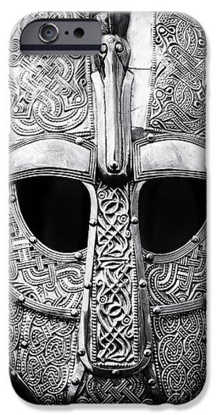 Monochrome iPhone Cases - Anglo Saxon Helmet iPhone Case by Tim Gainey