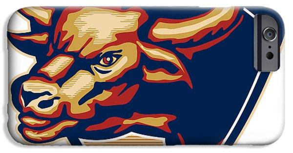 Bulls iPhone Cases - Angry Bull Head Crest Retro iPhone Case by Aloysius Patrimonio