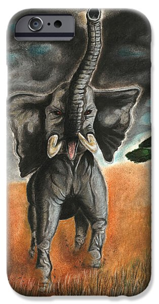 Elephants Pastels iPhone Cases - Angry Elephant iPhone Case by Jordan Spector