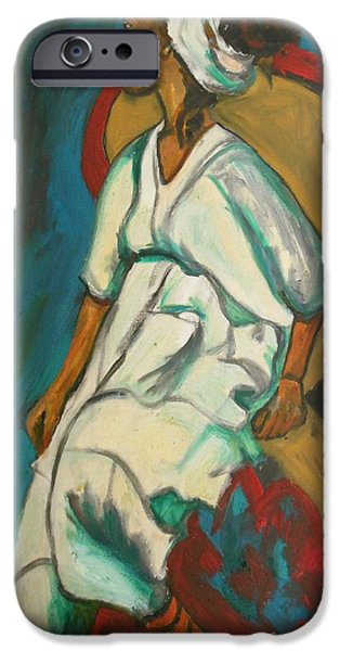 Ethiopian Woman iPhone Cases - Angry Ethiopian Woman iPhone Case by Esther Newman-Cohen