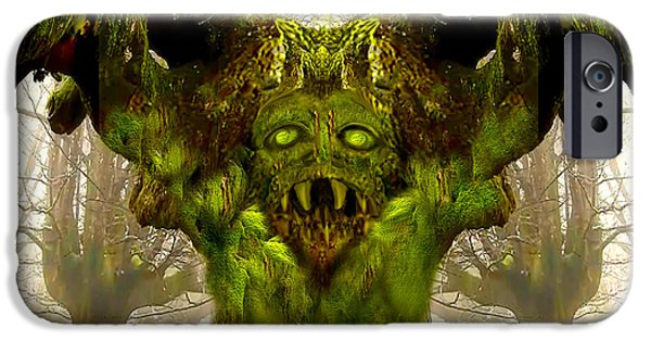 Tree Art Print Mixed Media iPhone Cases - Angry Tree Forest Defender iPhone Case by Heinz G Mielke