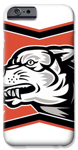 Angry Wolf Wild Dog Retro iPhone Case by Aloysius Patrimonio