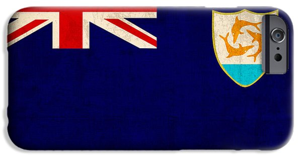 Nation iPhone Cases - Anguilla Flag Vintage Distressed Finish iPhone Case by Design Turnpike
