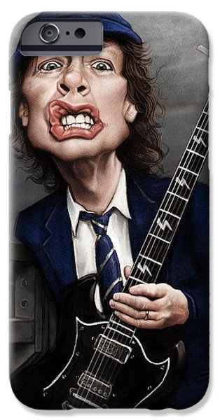 Caricature Digital Art iPhone Cases - Angus Young iPhone Case by Andre Koekemoer