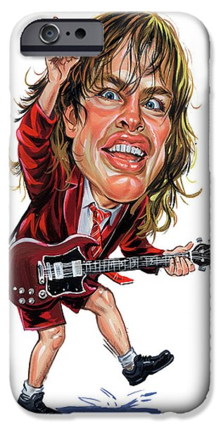Young iPhone Cases - Angus Young iPhone Case by Art