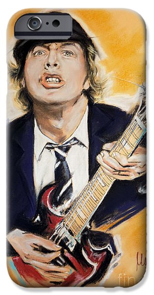 Young iPhone Cases - Angus Young iPhone Case by Melanie D