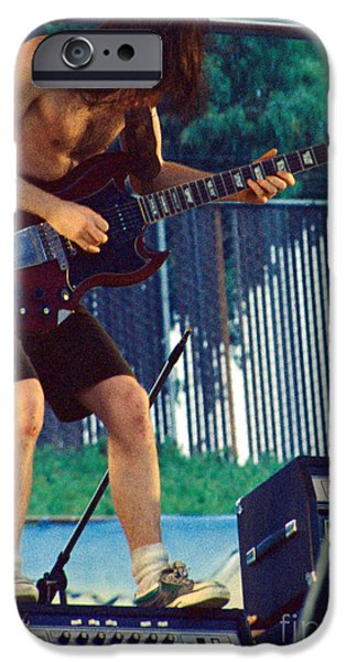 Recently Sold -  - Young iPhone Cases - Angus Young of A C D C at Day on the Green Monsters of Rock iPhone Case by Daniel Larsen