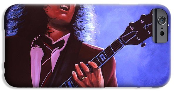 Celebrities Art iPhone Cases - Angus Young of AC / DC iPhone Case by Paul Meijering