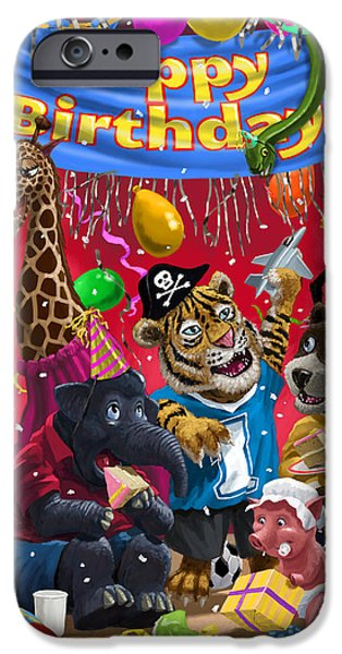 Party Birthday Party iPhone Cases - Animal Birthday Party iPhone Case by Martin Davey