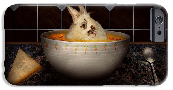 Fuzzy Digital iPhone Cases - Animal - Bunny - Theres a hare in my soup iPhone Case by Mike Savad