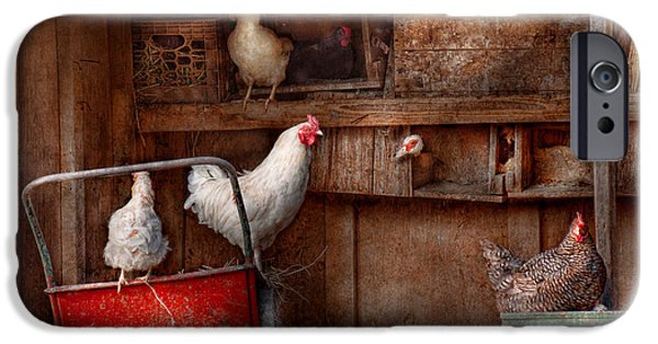 Roosting iPhone Cases - Animal - Chicken - The duck is a spy  iPhone Case by Mike Savad