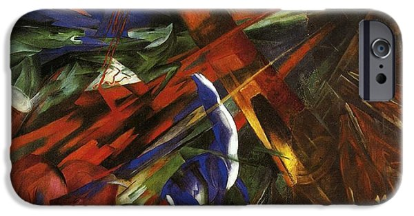 Destiny Paintings iPhone Cases - Animal Destinies iPhone Case by Franz Marc