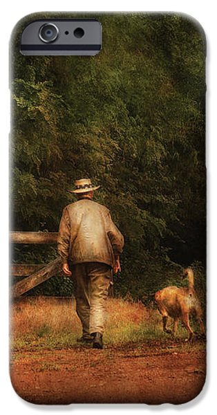 Animal - Dog - A man and his best friend iPhone Case by Mike Savad