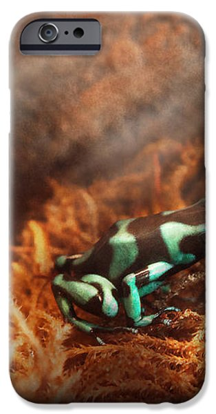Animal - Frog - Lick the green frog iPhone Case by Mike Savad