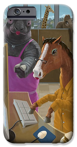 Business Digital iPhone Cases - Animal Office iPhone Case by Martin Davey