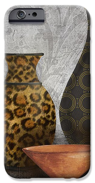 Animal Print Vase Still Life-A iPhone Case by Jean Plout