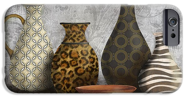 Pottery Pitcher iPhone Cases - Animal Print Vase Still Life-A iPhone Case by Jean Plout