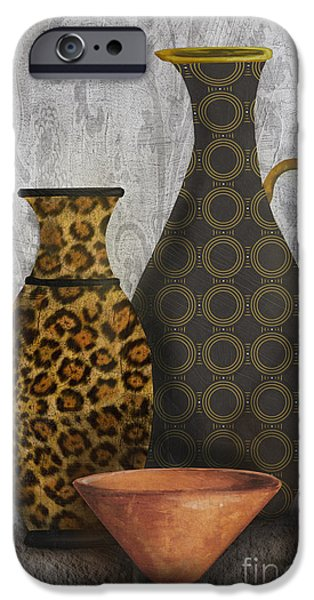Pottery Pitcher iPhone Cases - Animal Print Vase Still Life-B iPhone Case by Jean Plout