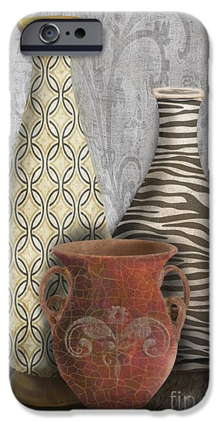 Pottery Pitcher iPhone Cases - Animal Print Vase Still Life-C iPhone Case by Jean Plout