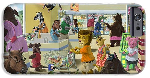 Hippopotamus Digital Art iPhone Cases - Animal Supermarket iPhone Case by Martin Davey