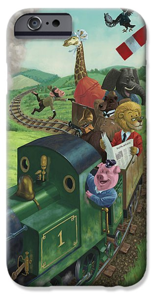 Zoo Animal iPhone Cases - Animal Train Journey iPhone Case by Martin Davey