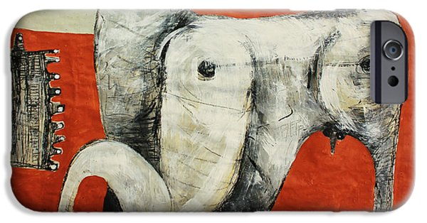 Outsider iPhone Cases - ANIMALIA  Equos No 3 iPhone Case by Mark M  Mellon