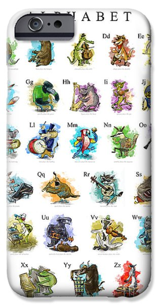 Iguana iPhone Cases - Animals and Instruments Alphabet iPhone Case by Sean Hagan
