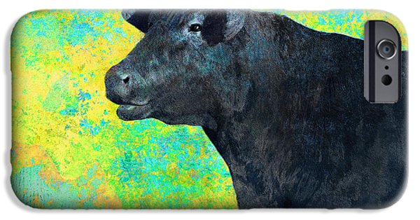 Black Angus iPhone Cases - Animals Cow Black Angus  iPhone Case by Ann Powell
