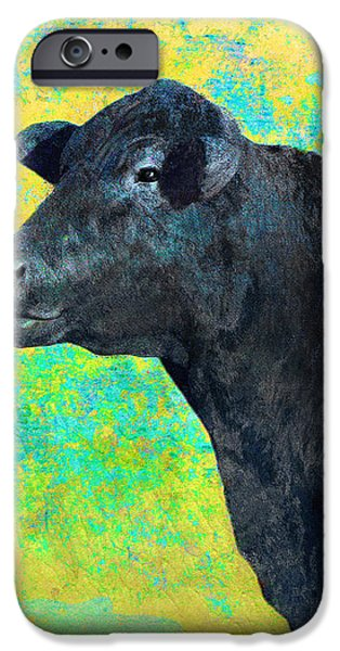 Animals Cow Black Angus  iPhone Case by Ann Powell