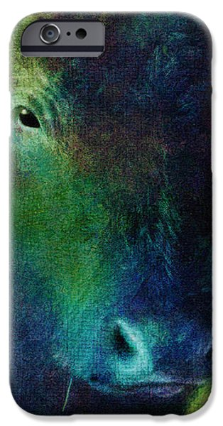 animals - cows- Black Cow iPhone Case by Ann Powell
