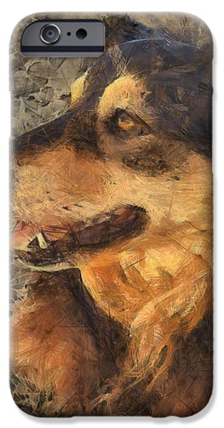 Dogs Digital Art iPhone Cases - animals - dogs - Faithful Friend iPhone Case by Ann Powell