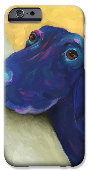 Dogs Digital Art iPhone Cases - Animals Dogs Labrador Retriever Begging iPhone Case by Ann Powell