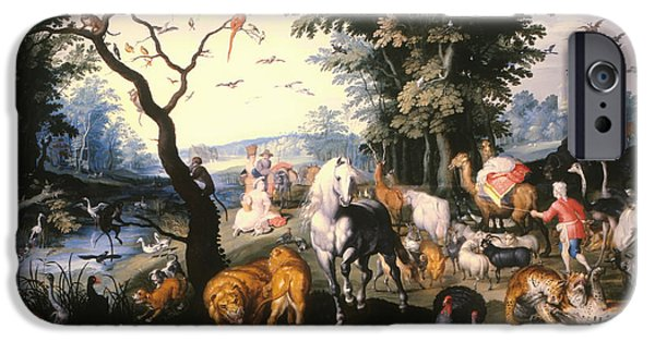 Noahs Ark Paintings iPhone Cases - Animals Entering Noahs Ark iPhone Case by Jan the Younger