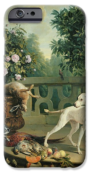 Growling iPhone Cases - Animals, Flowers And Fruits Oil On Canvas iPhone Case by Alexandre-Francois Desportes