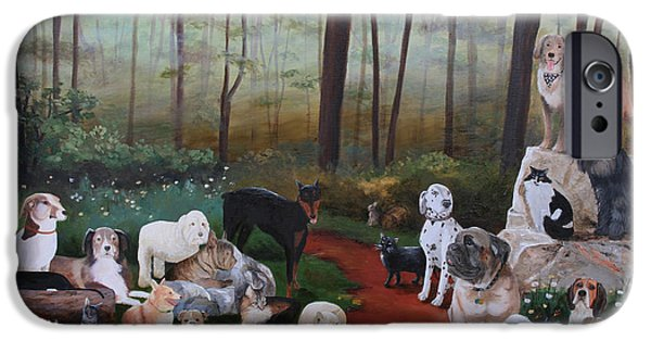 Cecilia iPhone Cases - Animals Living In Harmony iPhone Case by Cecilia  Brendel