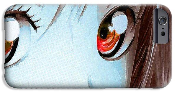 Empower iPhone Cases - Anime Girl Eyes 2 Blue iPhone Case by Tony Rubino