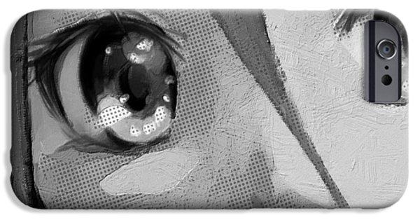 Animation iPhone Cases - Anime Girl Eyes Black And White iPhone Case by Tony Rubino