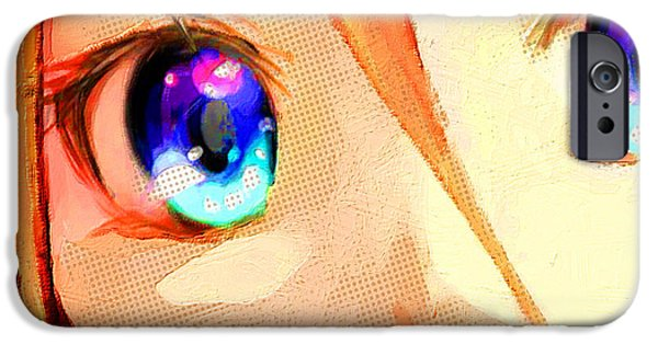 Empower iPhone Cases - Anime Girl Eyes Gold iPhone Case by Tony Rubino