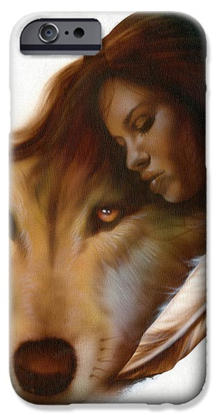 Native Drawings iPhone Cases - Animism  iPhone Case by Luis  Navarro