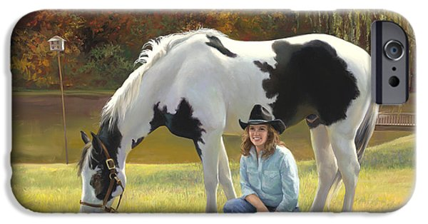 Steer Paintings iPhone Cases - Anita and Horse iPhone Case by Laurie Hein